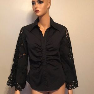 Gorgeous blouse with laser cutout sleeves